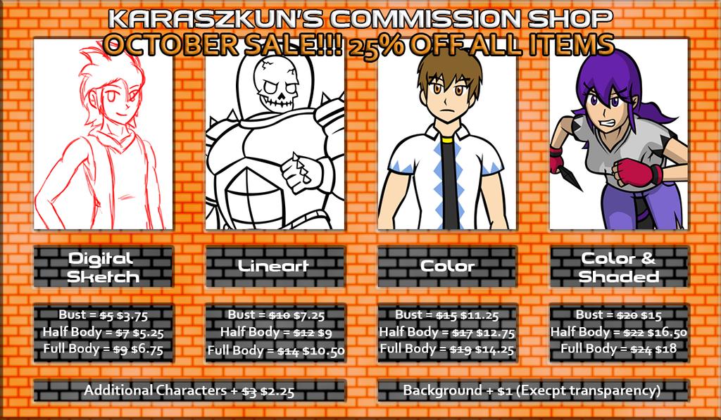Commission Prices October Sale by KaraszKun