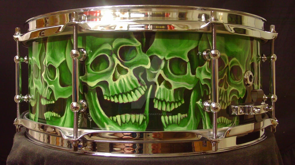 Skull Custom snare drum by InVistaArts