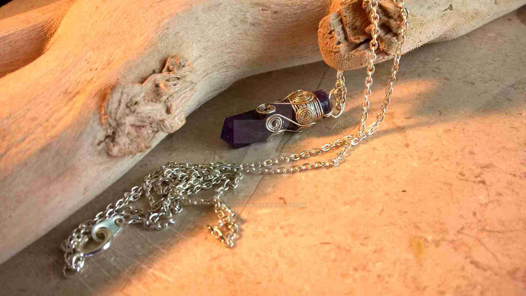 Crystal point Amethyst necklace by InVistaArts on DeviantArt