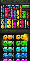 27 Glossy Photoshop Styles by fluctuemos