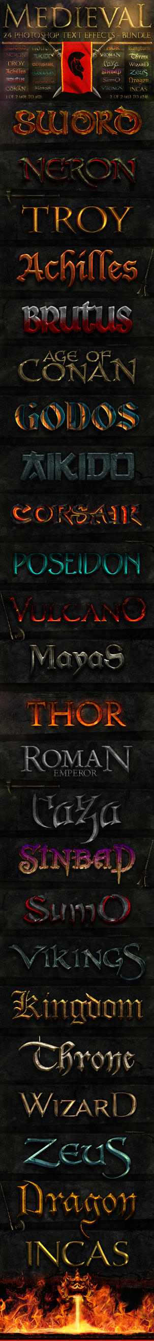Medieval Photoshop Text Effects [BUNDLE] by fluctuemos