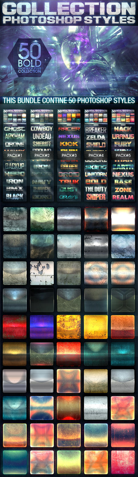 50 Metal Text Effects [Bundle V1] by fluctuemos