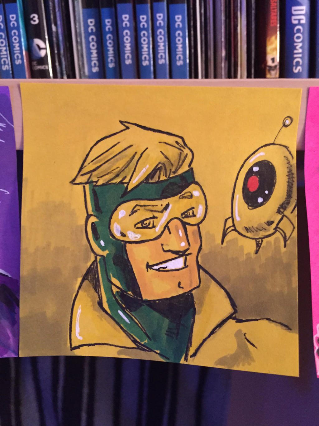 Booster Gold on yellow sticky note