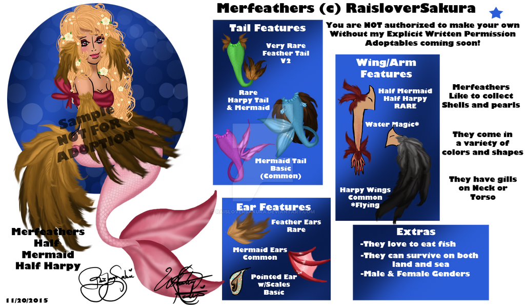 MerFeathers Reference Sheet-Closed Species by RaisloverSakura