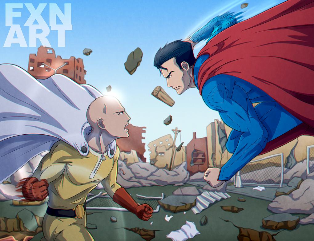 One Punch Man Saitama Vs Nyamuk - One Punch Man vs. Superman by FXNart on DeviantArt
