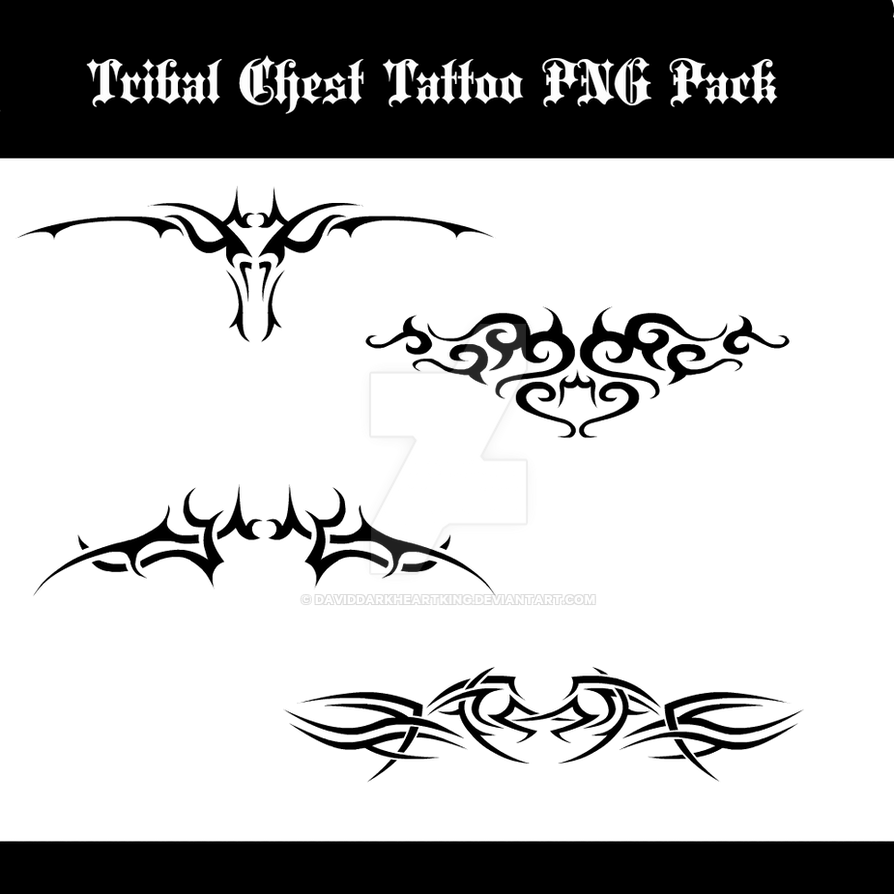 Tribal Chest Tattoo PNG Pack By DavidDarkheartKing On