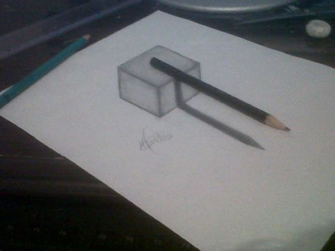 3d Drawing Pencil Upon Cube By Mendiis On Deviantart