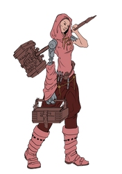 character concept red female chemist by Indrome