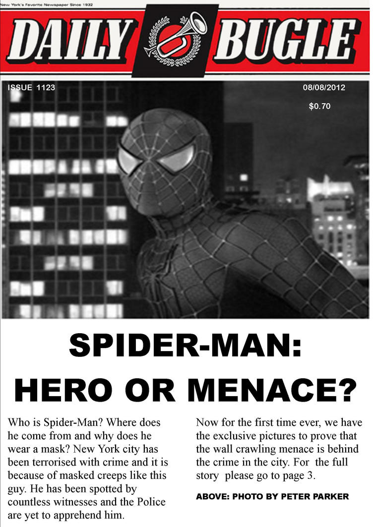 Spider Man The Daily Bugle Front Headlines By Stick Man