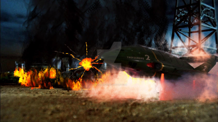 Thunderbird 2 at the Danger Zone. by stick-man-11
