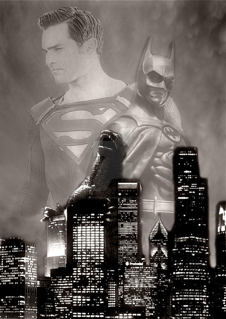 Superman x Batman x Godzilla by stick-man-11