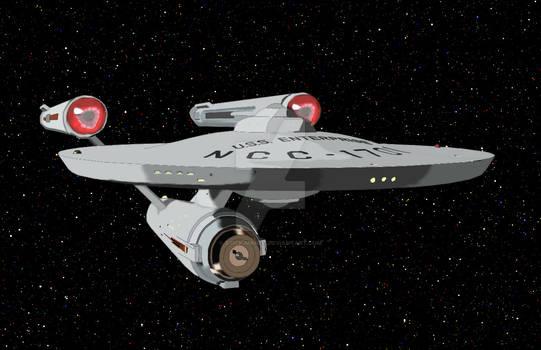 USS Enterprise NCC-1701 Photoshop Drawing.