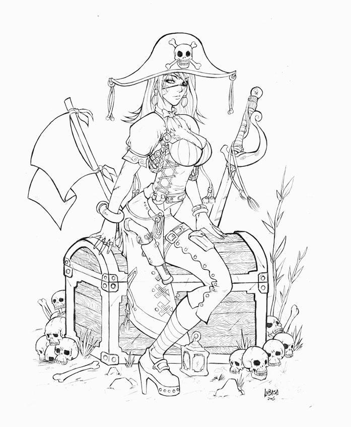 Female pirate drawing - photo#12