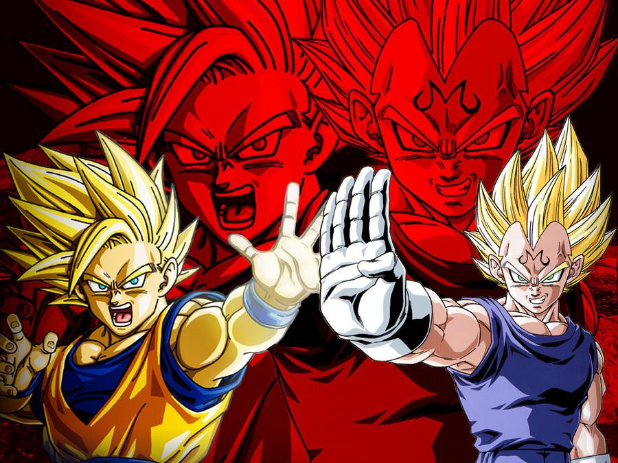 Wallpaper Goku Ssj2 Vs Majin Vegeta By Dony910