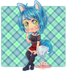Choco the foxgirl blue by Myshumeaw