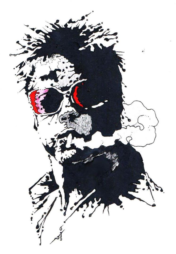 Tyler Durden Splatter Portrait by MonkeyAndSparrow