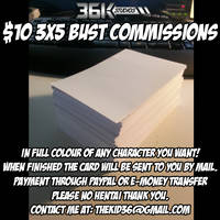 $10 3x5 Bust Card Commissions