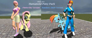 Humanoid Pony pack: Fluttershy and Rainbow Dash