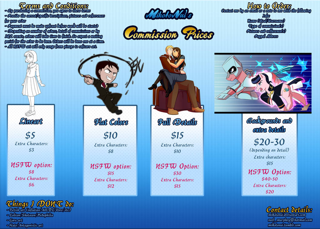 MikotoNui's Art Commission prices