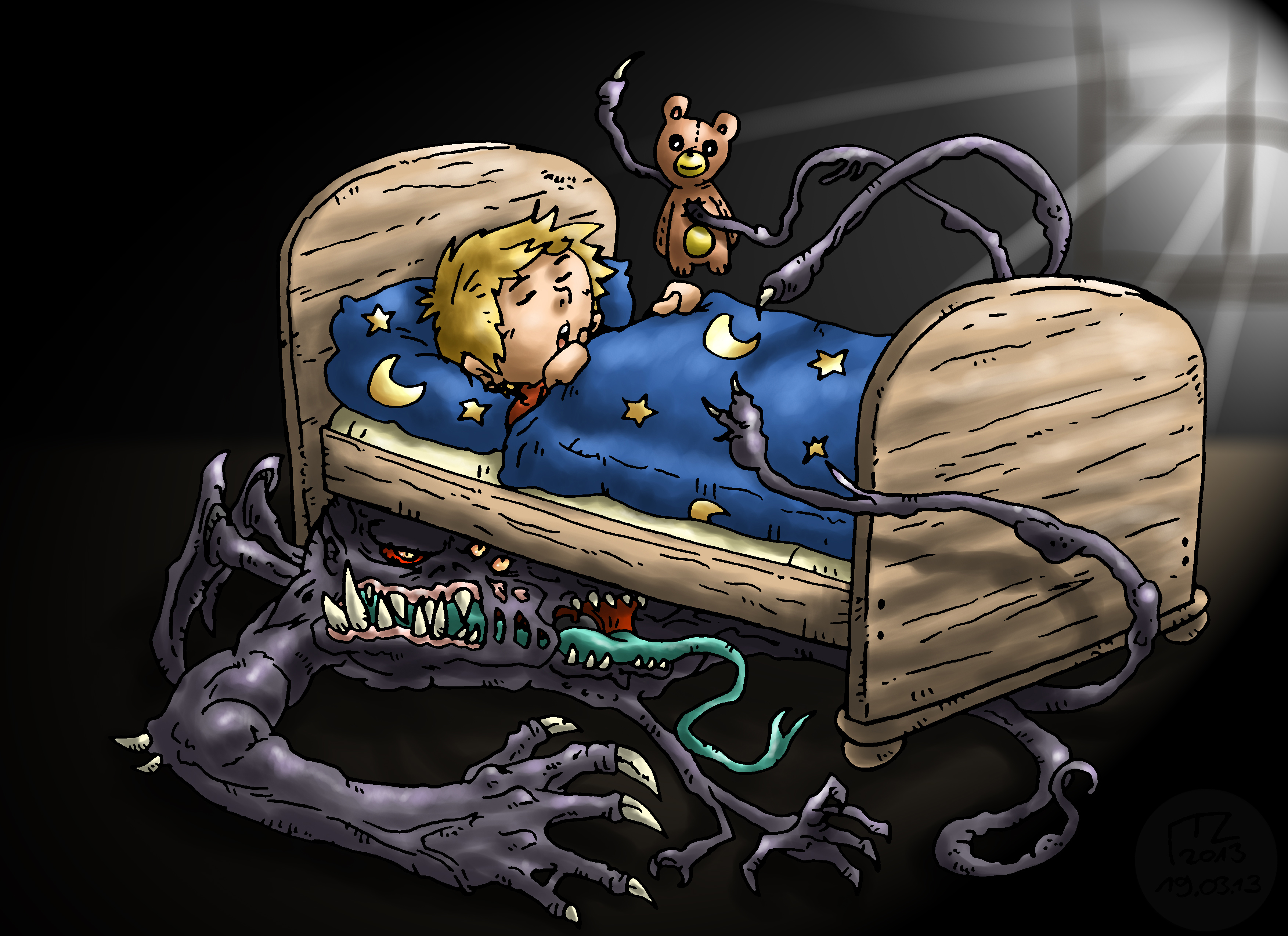 das monster unter dem bett monster under the bed by blue hugo on deviantart. Black Bedroom Furniture Sets. Home Design Ideas