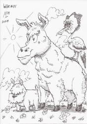 InkArt #51: Hund, Alpaka? und Vogel by blue-hugo
