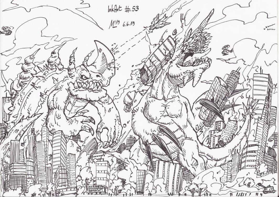 InkArt #53: Kaiju-Attack!! #2 by blue-hugo