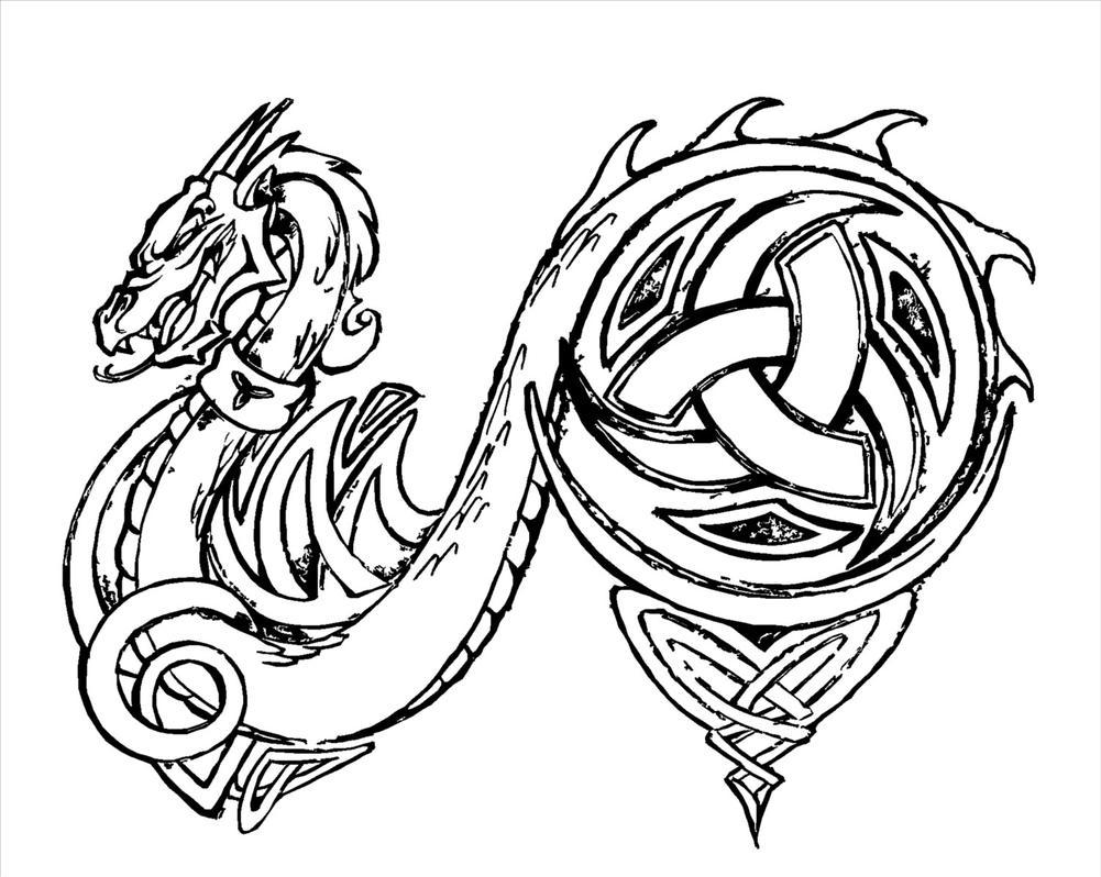 Line Drawing Dragon Tattoo : Dragon tattoo hard line by briansbigideas on deviantart