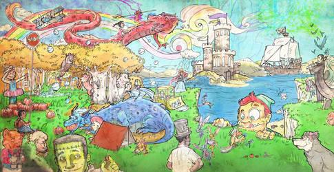Scribble Sky Day_Portland Children's Museum Mural