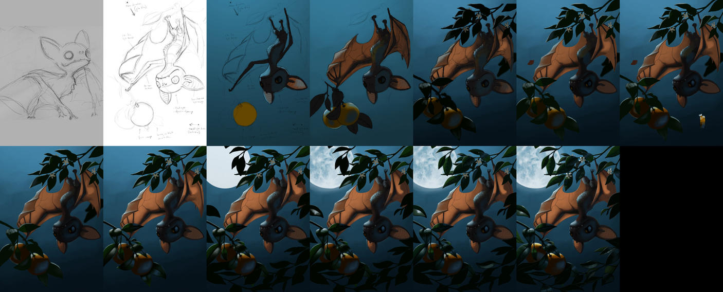 2011-07 - Bat Fruit - Process by AndrewMcIntoshArt