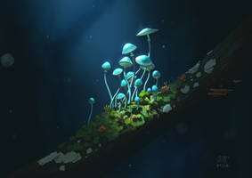 Simple Mushrooms by AndrewMcIntoshArt