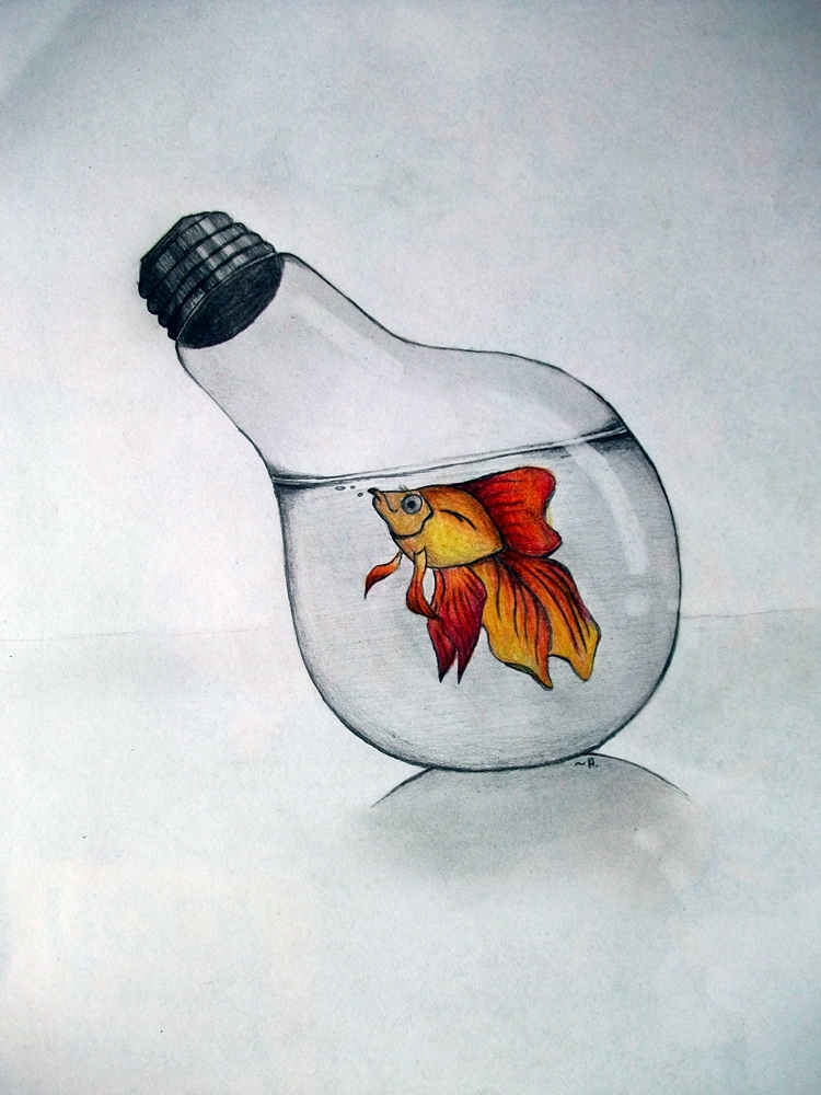 Goldfish in bulb by LittleAndzia