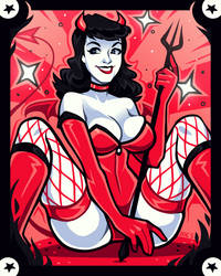Bettie Page Devil by ZoeStanleyArts