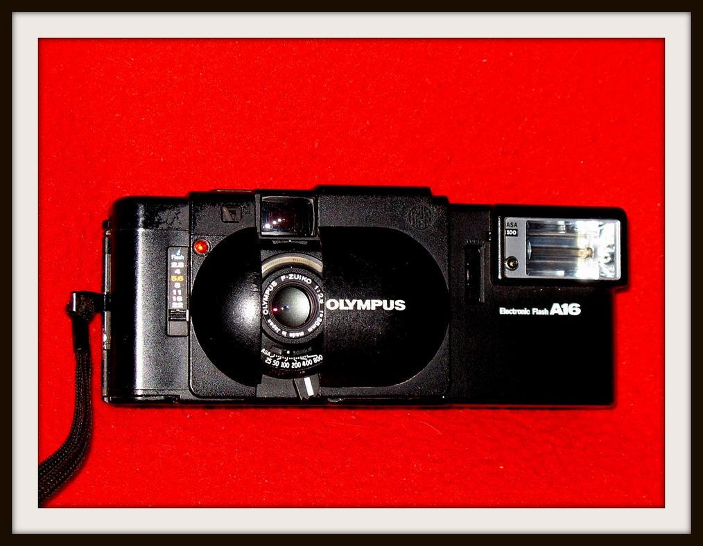 Olympus XA rangefinder with A16 flash unit by FallisPhoto