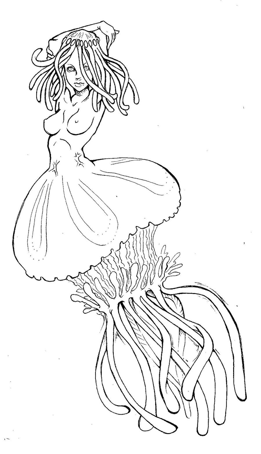 Line Drawing Lady : Jellyfish lady lineart by xdelightfuldeliriumx on deviantart