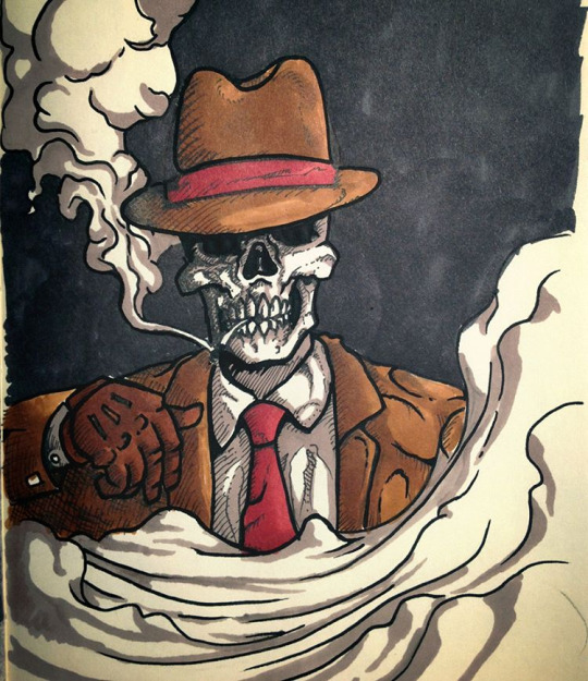 Noir skull by juliusllopis
