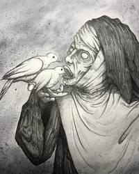 An adorable nun feeds the pigeons. by juliusllopis