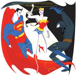Superman, Wonderwoman, Batman by MissMatzenbatzen