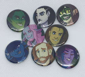 Mighty Nein Buttons by Tsilghaah