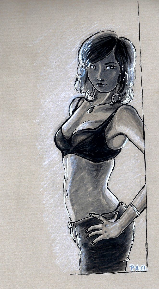 Suicide Girl - Black and grey markers by tite-pao