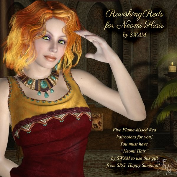 Red Neomi Hair V4 (freebie) by Sidhe Rose Graphics by FantasiesRealmMarket