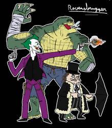 Croc, penguin and clown by ravensbrugger