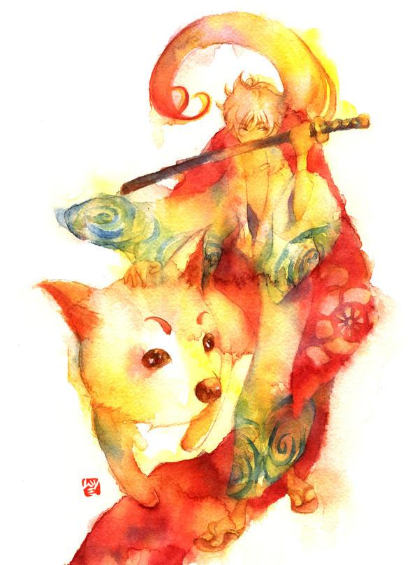 Gintama: Gintoki,Sadaharu by muttiy