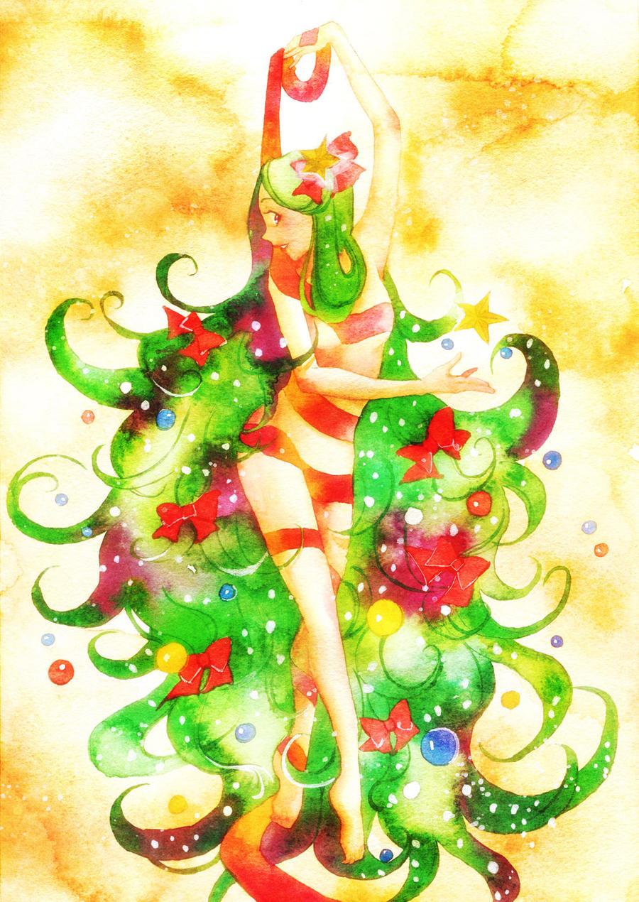 Christmas tree girl by muttiy