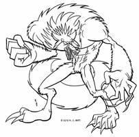 Werewolf Line Art by MJBedi