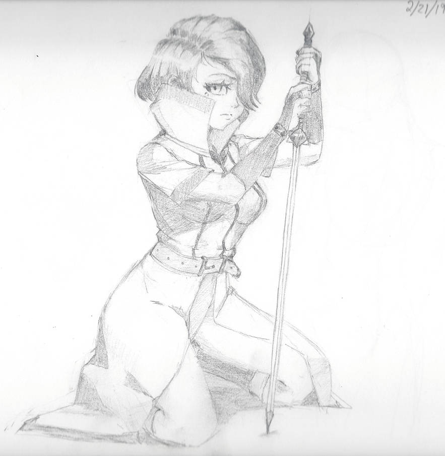 SwordGirl sketch by 2T-Rosed