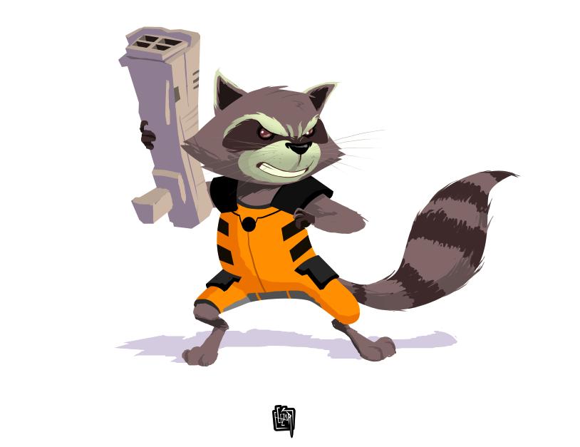 Rocket Raccoon fanart by cesarvs on DeviantArt Raccoon Drawing Easy