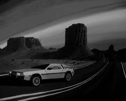DeLorean  7 - black and white