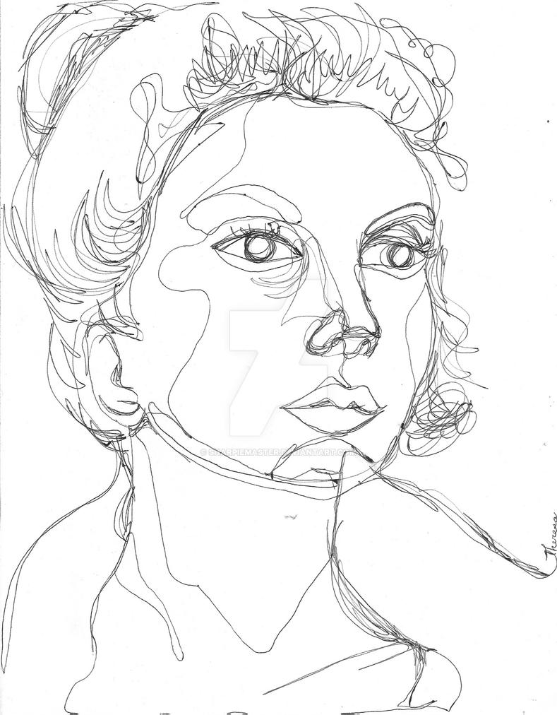 Contour Line Drawing Person : Contour portrait of a girl by sharpiemaster on deviantart
