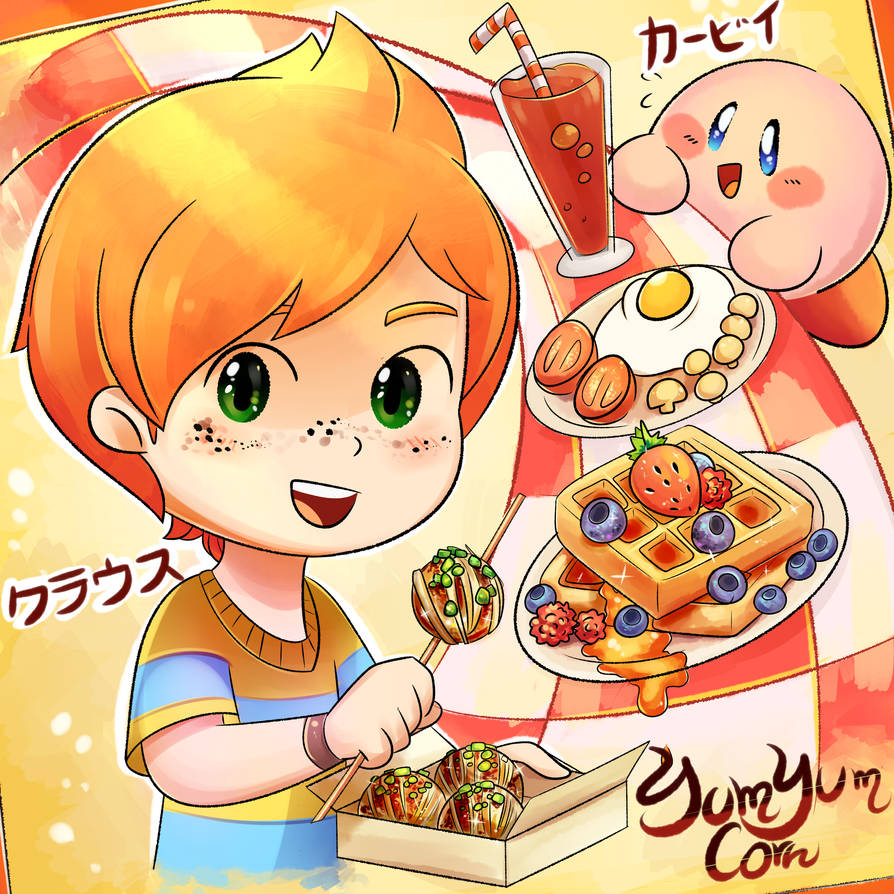 Carrot boy and Kirby by YumYumCorn