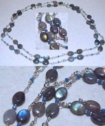Necklace: Labradorite, crystal, steel